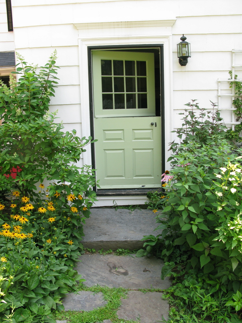 A Casual English Garden Of Black Eyed Susies, Hydrangeas And Climbing Roses  Flanks A Charming Dutch Door Painted One Of My Favorite Shades A Green, ...