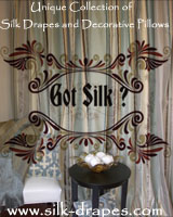Silk Drapes and Decorative Pillows