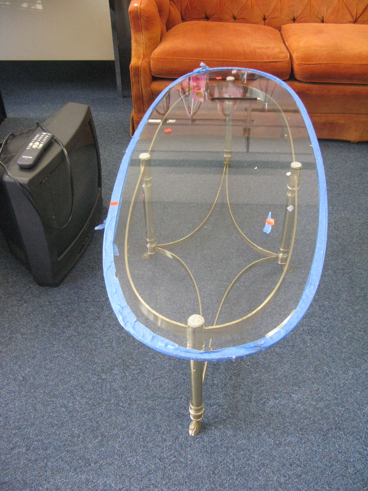 score: vintage brass and glass coffee table - eddie ross